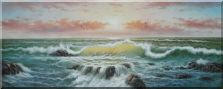 Seagulls Over Blue Sea Waves  Oil Painting  28 x 70 inches