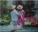 Two Little Girls Watching Flowers Oil Painting  20 x 24 inches