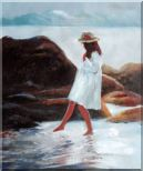 A Loverly Young Girl Playing Water at Beach Oil Painting  24 x 20 inches