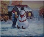 Make a Snowman In Christmas Oil Painting  20 x 24 inches