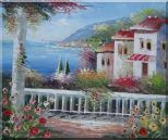 Gorgeous Mediterranean Villa with Panoramic Seaview  Oil Painting  20 x 24 inches