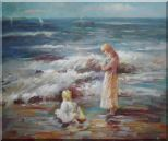 Woman and Children on the Beach  Oil Painting  20 x 24 inches