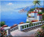 Mediterranean Colorful Garden Oil Painting  20 x 24 inches