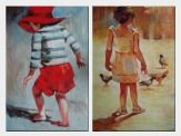Boy and Girl - 2 Canvas Set  36 x 48 inches