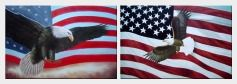 Flying Bald Eagle / American Flag - 2 Canvas Set  24 x 72 inches