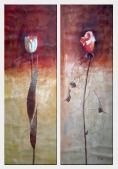Tulip and Rose in Brown Background - 2 Canvas Set  60 x 40 inches