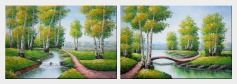 Spring River Side Scenery - 2 Canvas Set  24 x 72 inches