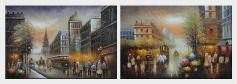 Early Nineteenth Century American Street Scene - 2 Canvas Set  24 x 72 inches