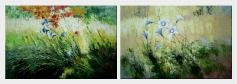 Blue Flowers in the Wind - 2 Canvas Set  24 x 72 inches