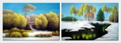 Nature Beauty of Jiuzhai Valley - 2 Canvas Set  24 x 72 inches