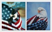 Bald Eagles with American Flags - 2 Canvas Set  24 x 40 inches