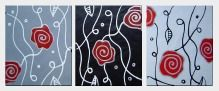 Red Rose Abstract Painting - 3 Canvas Set  24 x 60 inches