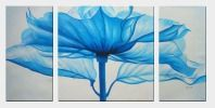 Beautiful Modern Blue Flower Oil Painting - 3 Canvas Set  24 x 48 inches