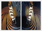 Colorful Zebra Heads - 2 Canvas Set  36 x 48 inches