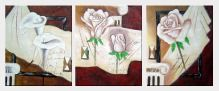 Pink Rose and White Calla Lilies - 3 Canvas Set  24 x 60 inches