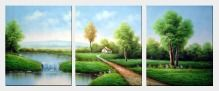 Lake, Cabin, Tree and Green Field Nature View - 3 Canvas Set  24 x 60 inches