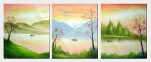 Mountain, River, Boat, Tree and Birds Landscape - 3 Canvas Set  24 x 60 inches