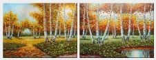 Large Water Stream in Autumn Yellow Birch Forest - 2 Canvas Set  36 x 96 inches