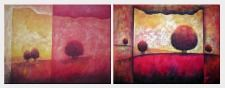 Modern Trees in Red and Yellow Landscape - 2 Canvas Set  30 x 80 inches