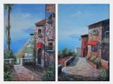 Stone House and Road of Mediterranean Village - 2 Canvas Set  36 x 48 inches
