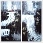 Modern Painting of Stream, Waterfall and Cityscape  - 2 Canvas Set  48 x 48 inches