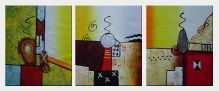Abstract Oil painting - 3 Canvas Set  24 x 60 inches