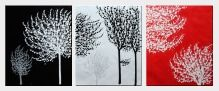 Red, White and Black Trees - 3 Canvas Set  24 x 60 inches