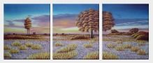 Golden Trees in Desert at Sunset - 3 Canvas Set  24 x 60 inches