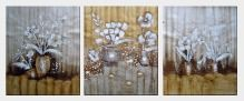 Decorating White Flowers and Plants  - 3 Canvas Set  24 x 60 inches