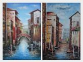 A Lonely Gondolier On Venice Street - 2 Canvas Set  36 x 48 inches
