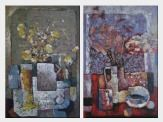 Still Life of Vase Flower and Objects - 2 Canvas Set  36 x 48 inches