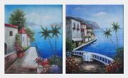 Retreat at Mediterranean Coast - 2 Canvas Set  24 x 40 inches