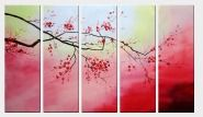 Blossom Red Plum Tree in Warm Background - 5 Canvas Set  36 x 60 inches