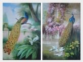 Beautiful Peacock, Birds with Flowers and Tree - 2 Canvas Set  36 x 48 inches