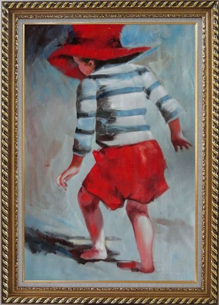 Oil Painting Red Hat Little Child Walking on Beach under Summer Sunshine 36x24 with Picture Frame #8201