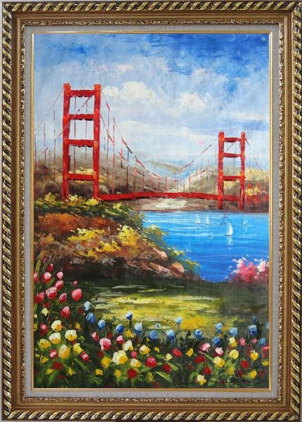 Oil Painting San Francisco Golden Gate Bridge 36x24 with Picture Frame #8201