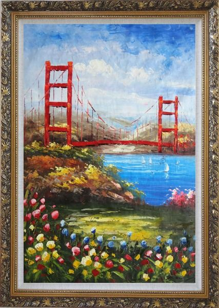 Oil Painting San Francisco Golden Gate Bridge 36x24 with Picture Frame #8206
