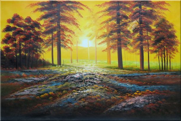 Alpine Trees with Sunshine Oil Painting Landscape Naturalism 24 x 36 Inches