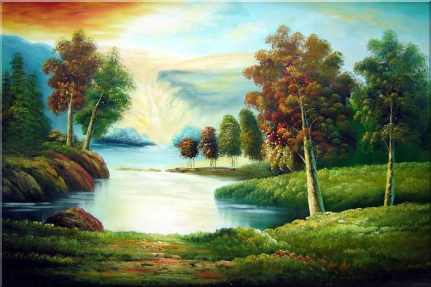 Peaceful Lake View in Spring Oil Painting Landscape River Naturalism 24 x 36 Inches