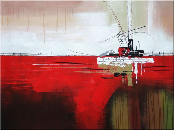 Ship in Red Ocean Oil Painting Boat Decorative 36 x 48 Inches