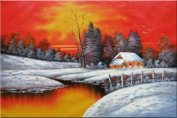 A Snow Coverd Cottage in Winter Forest at Christmas Sunset Oil Painting Landscape River Naturalism 24 x 36 Inches