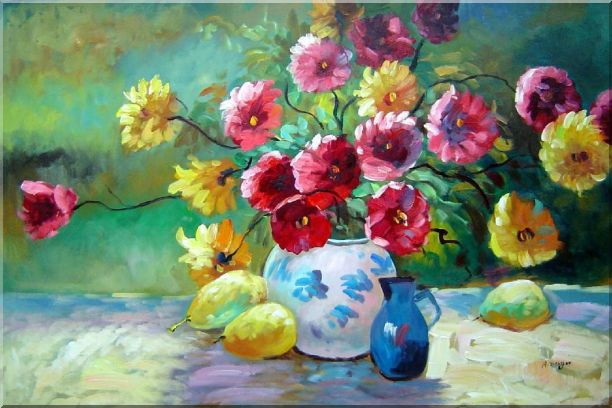 Delightful Colorful Chrysanthemums in Vase under Sunshine Oil Painting Flower Still Life Bouquet Naturalism 24 x 36 Inches