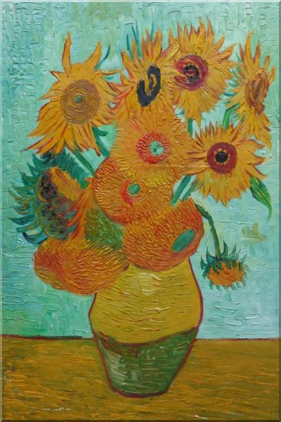 Sunflowers, Van Gogh Reproduction - 2 Canvas Set 2-canvas-set,flower,still-life,sunflower post-impressionism  36 x 48 inches