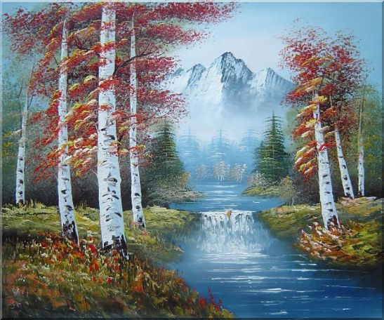 Small Water Fall in Golden Autumn Oil Painting Landscape Waterfall Naturalism 20 x 24 Inches
