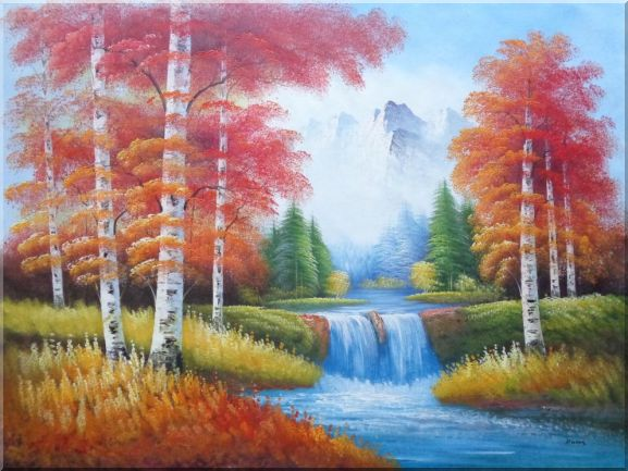 Small Water Fall in Golden Autumn Oil Painting Landscape Waterfall Naturalism 36 x 48 Inches