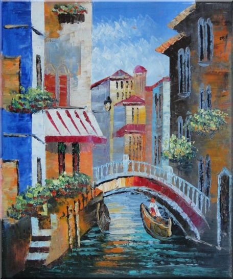Gondola Pass Through Small Bridge in Venice Oil Painting Italy Naturalism 24 x 20 Inches