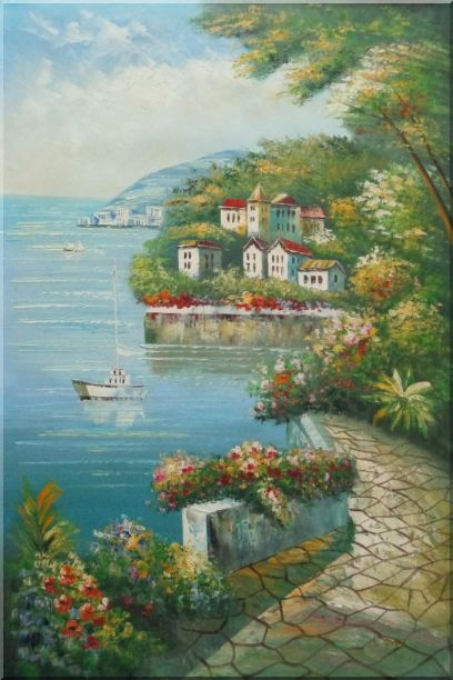 Mediterranean Walk Oil Painting Naturalism 36 x 24 Inches