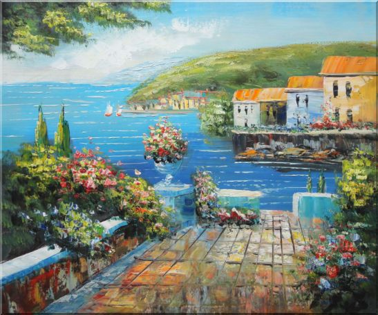 Mediterranean Terrace Oil Painting Naturalism 20 x 24 Inches
