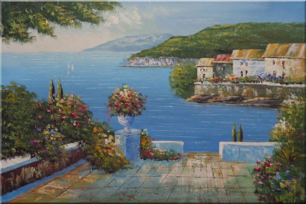 Mediterranean Terrace Oil Painting Naturalism 24 x 36 Inches