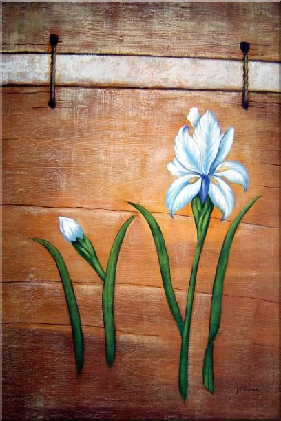 Light Blue Flowers and Brown Wood Wall Oil Painting Tulip Modern 36 x 24 Inches